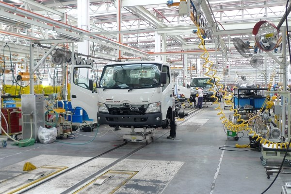 A HINO 300 truck chassis being assembled at the Sendayan plant