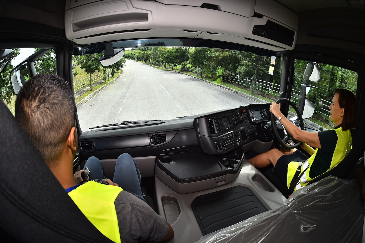 9. Marie Sjödin Enström, Managing Director of Scania Southeast Asia was driving one of the guests on Scania G410A6X2 New Truck Generation that is designed and engineered to give Scania truck owners better fuel efficiency and lower CO2 emissions