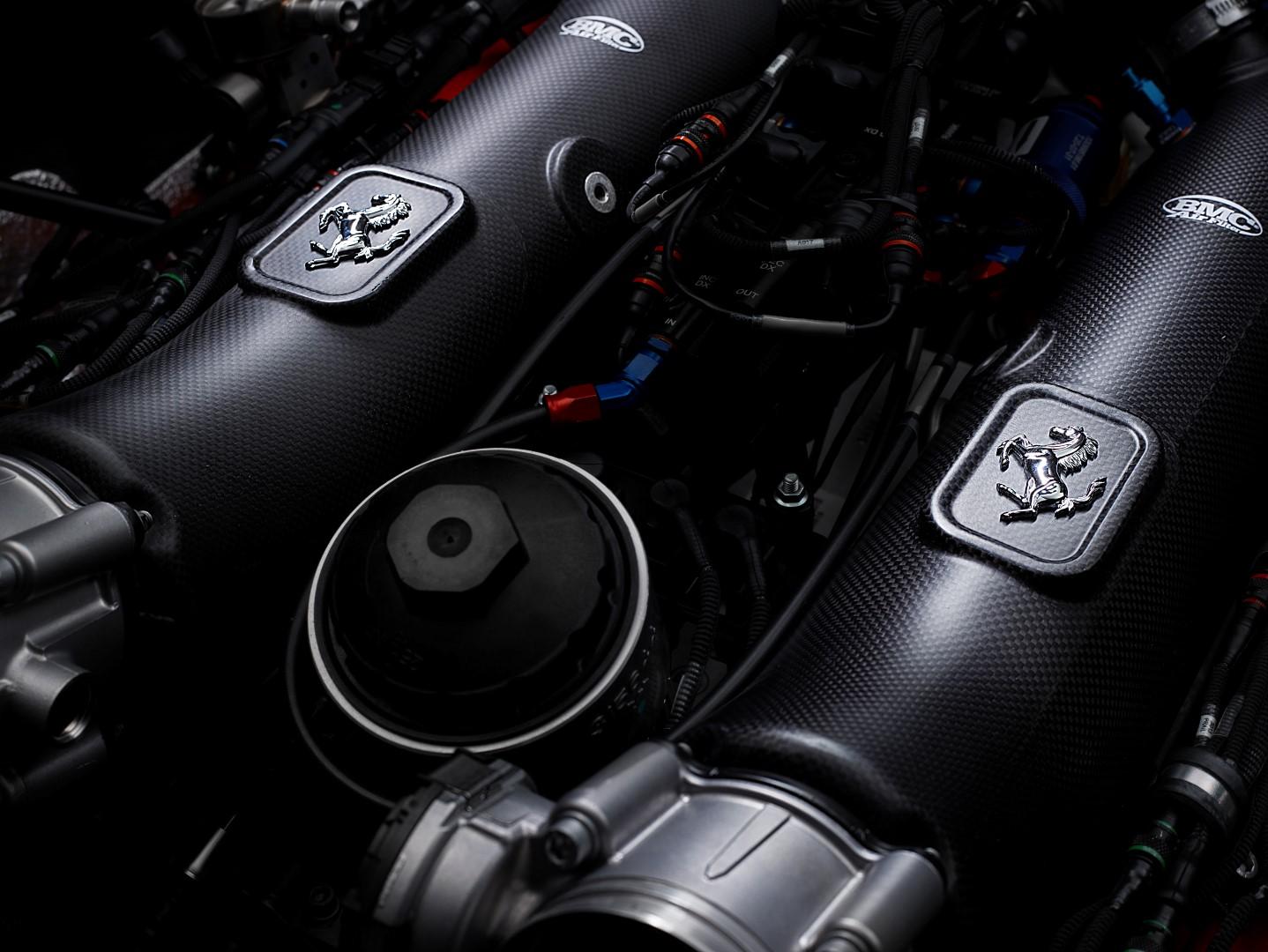 Ferrari 488 GT Modificata engine close up