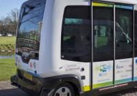 Driverless mini bus in Hernesaari, Helsinki, Finland